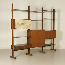 Brass Bookcase Vintage Italian Bookcase In Mahogany Veneer And Brass 1960s For