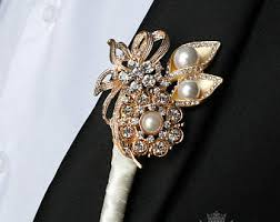 gold boutonniere groom boutonniere etsy