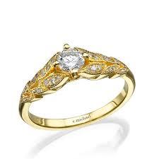 leaf engagement ring 14k yellow gold ring diamond ring leaves