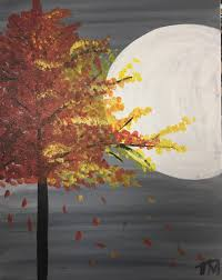 wine u0026 canvas autumn tree in the moonlight paint party and more