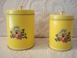 kitchen canisters with floral decals vintage vintage yellow and