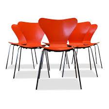 Orange Dining Chair Arne Jacobsen Model 3107 Orange Dining Chairs 66452
