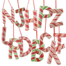 pack of 12 red white and green striped assorted letter christmas