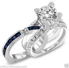 bridal set rings semi mount bridal set blue sapphire and diamonds engagement ring