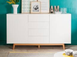 buffet cuisine design buffet 2 portes 4 tiroirs en bois laqué blanc piètement chêne