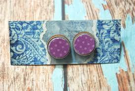 decoupage earrings decoupage earrings purple dots indigo madeit au