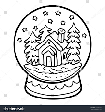 coloring book children winter snowball house stock vector