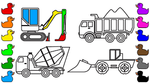 how to draw and color construction truck learn colors for kids