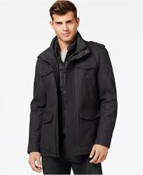 guess wool blend jacket with removable bib coats jackets men