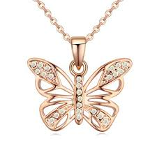 necklace with butterfly pendant images Necklaces gold drop crystal butterfly pendant jpg