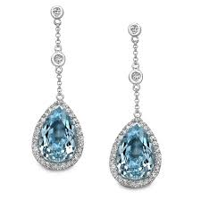blue topaz earrings natalie k 14k white gold sky blue topaz diamond