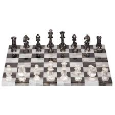 australianfinejewellery com au mop chess set white u0026 black 40cm