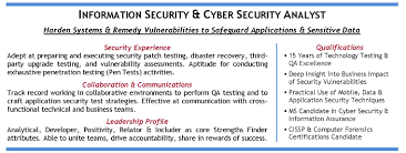 Information Security Analyst Resume Sample by Cyber Security Resume Free Resume Example And Writing Download