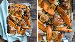 cuisiner cuisse de poulet au four cuisses de poulet au gingembre et aux patates douces l express