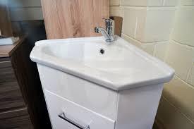 compact corner white gloss polyurethane freestanding vanity