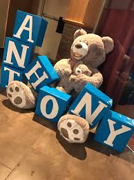 teddy baby shower ideas teddy baby name boxes baby shower baby boy baby shower
