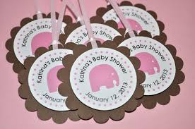 pink and brown baby shower elephant baby shower favor tags thank you tags baby