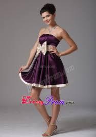 ruffled dark purple mini prom dress with big bowknot