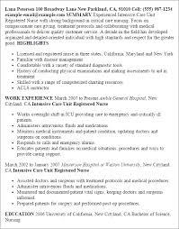 Critical Care Nurse Job Description Resume by Critical Care Nurse Resume 20286