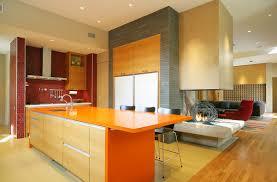 Warm Orange Color Interesting Design Kitchens Color With Orange Table On The Wooden