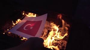 Burning Red Flag Burning The Flag Of Turkey Stock Video Footage Videoblocks