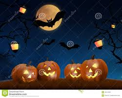 halloween background photos halloween background scene with full moon pumpkins and bats stock