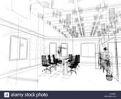 interior design sketch the modern office interior design sketch 3d render stock photo