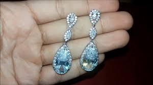 brinco zirconia brinco de zirconia prata para noivas e debutantes gota