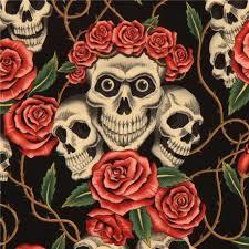 black henry fabric roses and beige skulls kawaii
