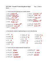 sig figs u0026 sci notation worksheet u0026 answer key worksheet 1