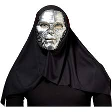 Amazon Com Silver Robot Mask With Black Hood Clothing