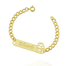 Famosos pulseira infantil nome personalizada semi joia &AS06