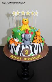 jungle theme cake order send animals jungle theme fondant cake pune sweet mantra