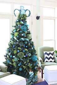 white christmas tree with purple and blue decorations 37 trendy