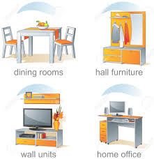 icon set home furniture dining rooms hall wall units home