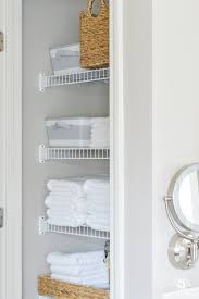 Bathroom Basket Drawers Organized Bathroom Linen Closet Anyone Can Have Kelley Nan