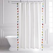 Tassel Curtain Navy And White French Tassel Shower Curtain