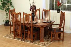 9 pieces oak mission style dining room set with hexagon dining 9 pieces oak mission style dining room set with hexagon dining table and chairs with high back and dark brown leather seats plus carpet tiles for small