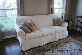 slipcovers for pillow back sofas cozy cottage slipcovers natural brushed canvas sofa slipcover