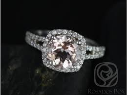 morganite engagement ring white gold rosados box pasley 14kt white gold morganite cushion halo with