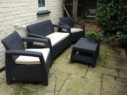 4 Seater Patio Furniture Set - 4 seater lounge set plastic rattan garden furniture keter