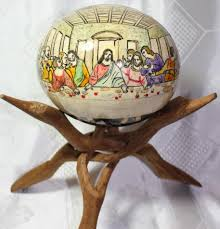 painted ostrich eggs handmade pysanky ostrich pysanky last supper decorated