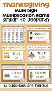 thanksgiving multiplication similar to jeopardy