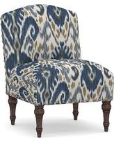 huge deal on slate blue ikat slipper chair