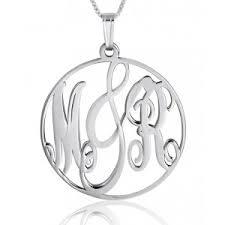 Silver Monogram Necklace Silver Monogram Necklaces Namefactory