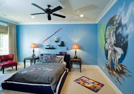 bedroom large ceiling fans without lights for kids area with blue