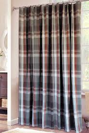 plaid shower curtain in grey rust and white bathroom stuff
