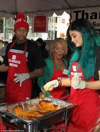 jenner and rumoured beau tyga serve food at homeless shelter