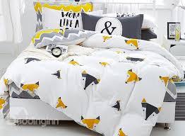 concise cartoon fox print 4 piece cotton duvet cover sets