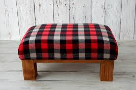 Plaid Ottoman Upholstered Rustic Gray Plaid Ottoman Pouf Cabin